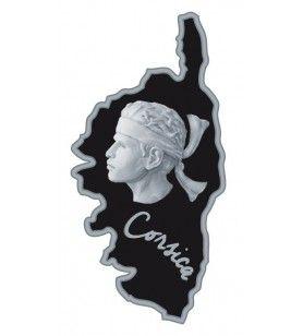Mappa di metallo magnete Corsica e testa di testa di moorhead in rilievo  - Mappa di metallo magnete Corsica e testa di testa di