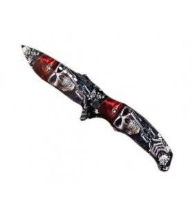Steel knife skull and crossbones handle red hat