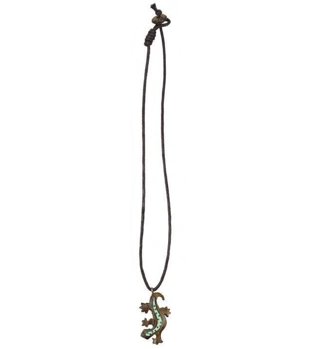 Wooden salamander necklace