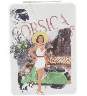 Miroir de poche collection scooter Corsica  - Double miroir de poche collection scooter Corsica