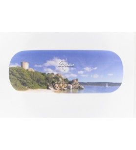 Rigid glasses case with genoese tower decor chiffon