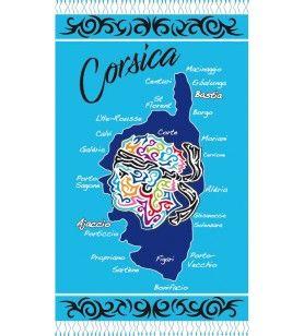 Fouta Tribal-Dekor mit Kopf und Karte Korsika  - Fouta Tribal-Dekor mit Kopf und Karte Korsika Erhältlich in 2 Farben