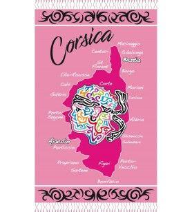 Fouta décor tribal avec tête et carte Corse