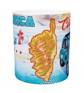 Mug Corsica blanc vintage décor 2 CV