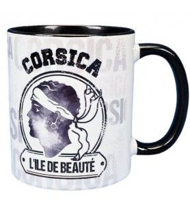 Vintage black and white Corsica mug