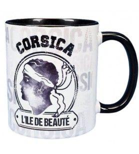 Vintage schwarz und weiß Korsika Becher