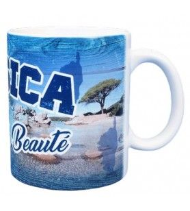 Mug decorated with blue wooden palisade on the island of beauty
