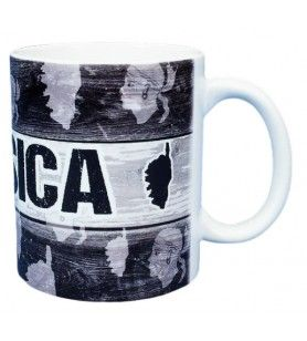Becher mit schwarzer Holzpalisade Dekoration Korsika  - Becher mit schwarzer Holzpalisade Dekoration Korsika