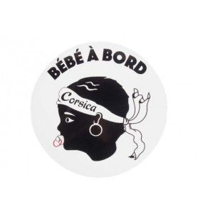 Adhesivo redondo Bébé Corse a bordo  - 1