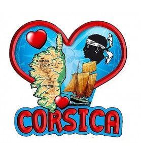 Magnet résine Corsica coeur rouge