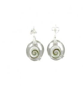 Boucles d'oreilles mouvement oeil de sainte Lucie et oxyde de zirconium