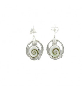 Earrings movement St Lucia's eye and zirconium oxide