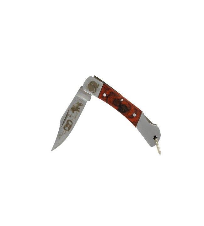 Couteau porte cles lame gravée muvra cignale