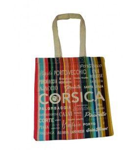 Tote bag stripes cities of Corsica  - Tote bag stripes cities of Corsica