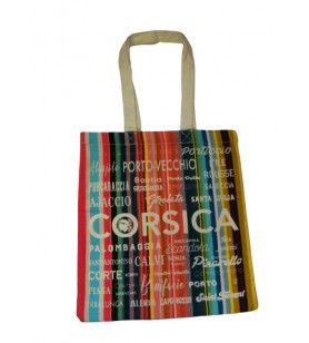 Tote bag stripes Corsica cities