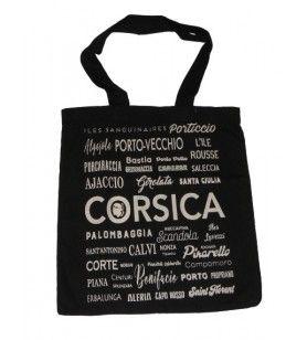 Tote zak die zwarte achtergrond Corsica schrijft