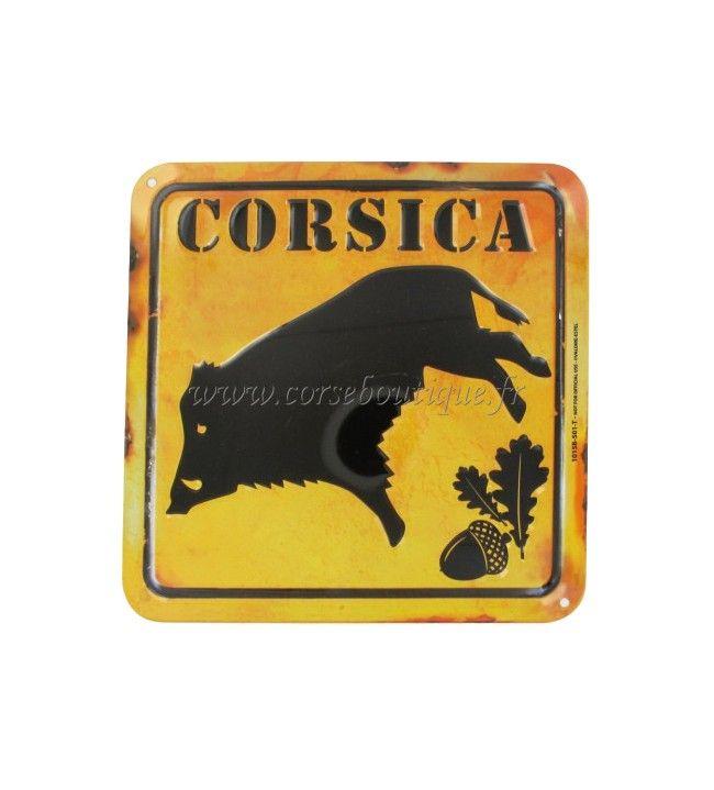 Plaque Road Sign Sanglier Corsica