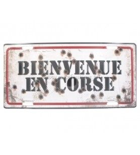 Metal plate Welcome to Corsica