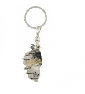 Schlüsselanhänger ausgeschnitten Insel Silber / Gold Korsika
