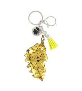 Porte clé sequin carte corse jaune et breloques  - Porte clé sequin carte corse jaune et breloques