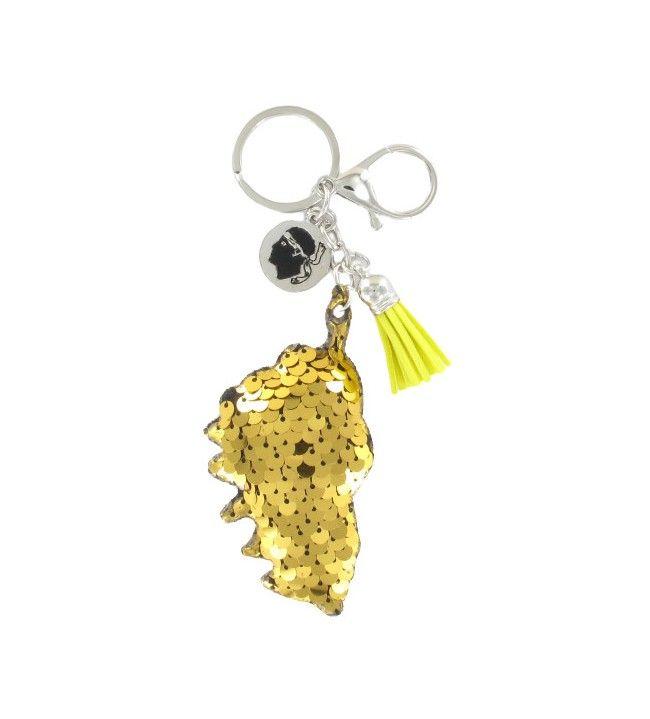 Porte clé sequin carte corse jaune et breloques