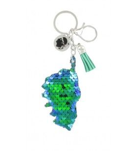 Porte clé sequin carte corse reflet bleu vert et breloques