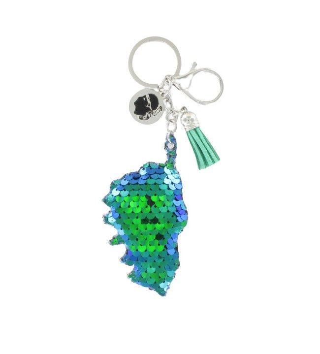 Porte clé sequin carte corse bleu vert