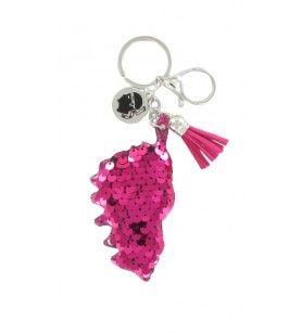 Porta chiave paillettes rosa carta corsa e ciondoli  - Porta chiave paillettes rosa carta corsa e ciondoli