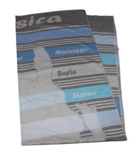 Foutas striped blue woven map Corsica  - Foutas striped blue woven map Corsica