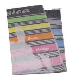 Foutas striped colors woven map Corsica  - Foutas striped colors woven map Corsica