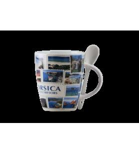 Mug with spoon Corsica treasure island  - Mug with spoon Corsica treasure island