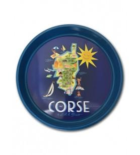 Plateau en métal - carte de la Corse