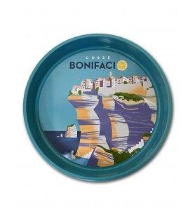 Plateau rond en métal - décor Bonifacio