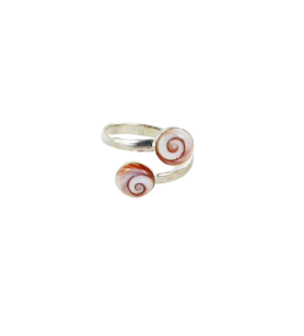 Anello regolabile in argento con 2 occhi di Santa Lucia del Mediterraneo 25.5