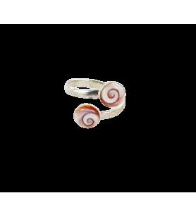 Verstelbare zilveren ring met 2 ogen van de Heilige Lucy van de Middellandse Zee  - Verstelbare zilveren ring met 2 ogen van de
