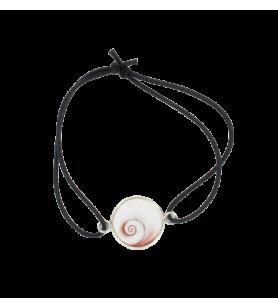 Adjustable elastic bracelet and round mediterranean saint lucia's eye  - Adjustable elastic bracelet and round mediterranean sai
