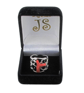Grande anello regolabile in argento con ramo di corallo 49