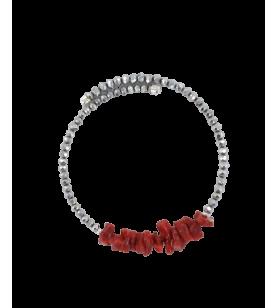 Pulsera ajustable de coral y perlas facetadas  - 1