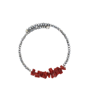 Verstellbares Armband aus Koralle und facettierten Perlen  - Verstellbares Armband aus Koralle und facettierten Perlen