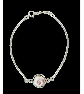 Bracelet en argent et œil de sainte Lucie de méditerranée rond