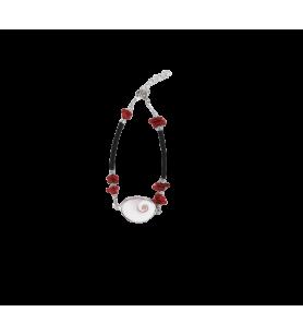 Gummikordel-Armband mit Koralle und mediterranem Auge von Saint Lucia in Silber gefasst  -  Gummikordel-Armband mit Koralle und