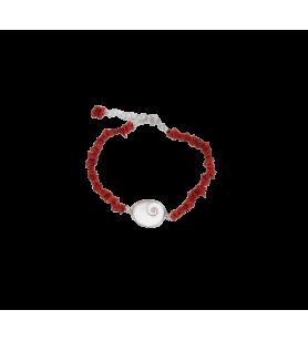 Koraal armband met een mediterraan oog van Saint Lucy gezet in zilver  - 1
