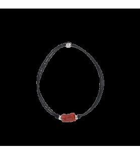 Bracciale elastico nero con sfere d'argento e corallo  - Bracciale elastico nero con sfere d'argento e corallo
