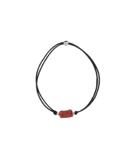 Black elastic bracelet with silver and coral balls  - Black elastic bracelet with silver and coral balls