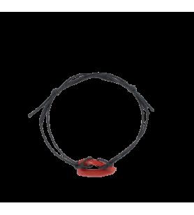 Verstelbaar koord armband zwart en koraal  - Verstelbaar koord armband zwart en koraal