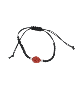 Pulsera trenzada ajustable y bola de coral  - 1
