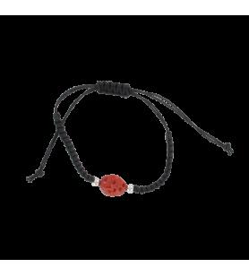 Verstelbare gevlochten armband en koraal bal  - 1