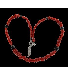 Koralle und Onyx Kugeln Halskette  - Koralle und Onyx Kugeln Halskette