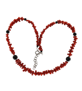 Coral and Onyx balls necklace  - Coral and Onyx balls necklace