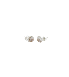 Silver oval stud earrings with mediterranean saint lucia eye  - Silver oval stud earrings with mediterranean saint lucia eye